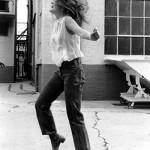 During breaks in filming at Warner Bros Studios, LTY joined hippie extras in dance.
